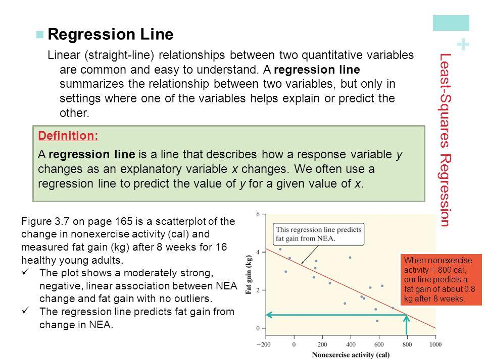 + Least-Squares Regression Regression LineLinear (straight-line) relationships between two quantitative variables are common and easy to understand.