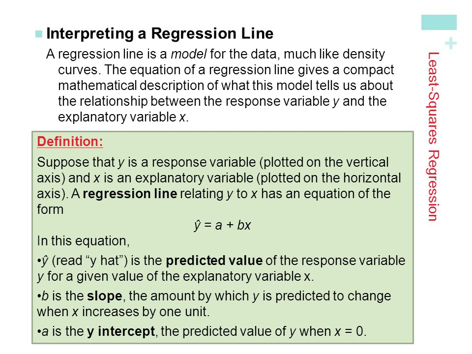 + Least-Squares Regression Interpreting a Regression LineA regression line is a model for the data, much like density curves.