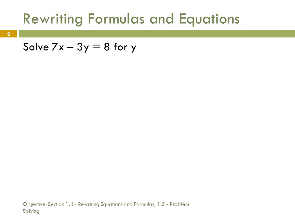 Solving problems using equations