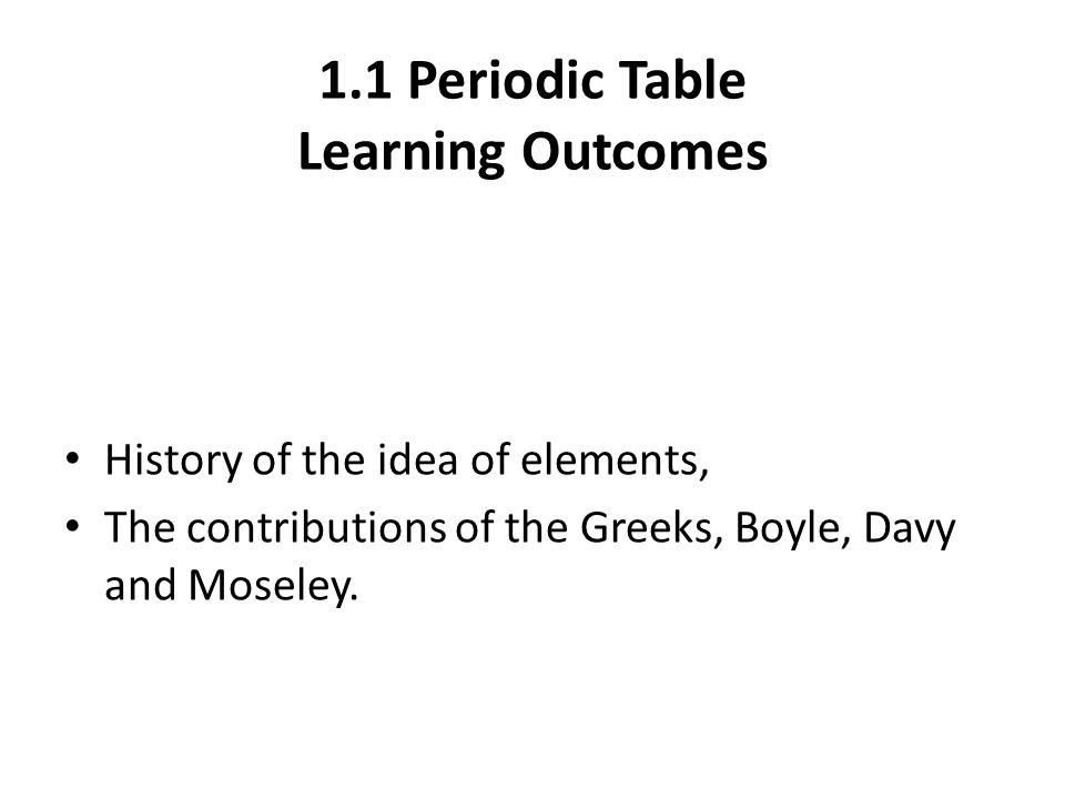 Periodic Table periodic table of elements game 1-36 : 1.1 Periodic Table Learning Outcomes History of the idea of ...