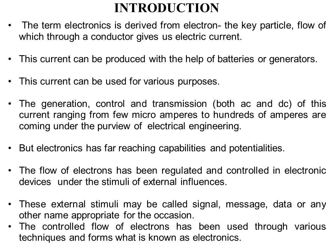 Introduction to basic electronics engineering module i evolution the term electronics is derived from electron the key particle flow of which through biocorpaavc Images