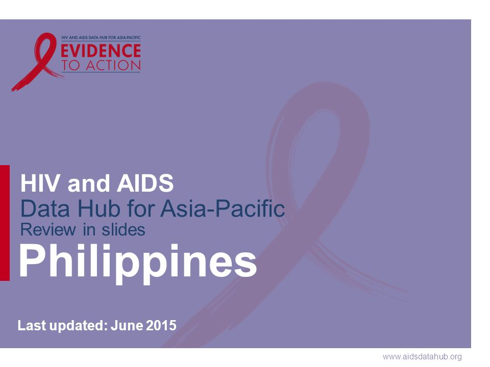 www.aidsdatahub.org HIV and AIDS Data Hub for Asia-Pacific Review in slides Philippines Last updated: June 2015