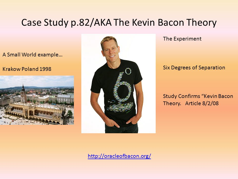 Case Study p.82/AKA The Kevin Bacon Theory A Small World example… Krakow Poland 1998 The Experiment Six Degrees of Separation Study Confirms Kevin Bacon Theory.
