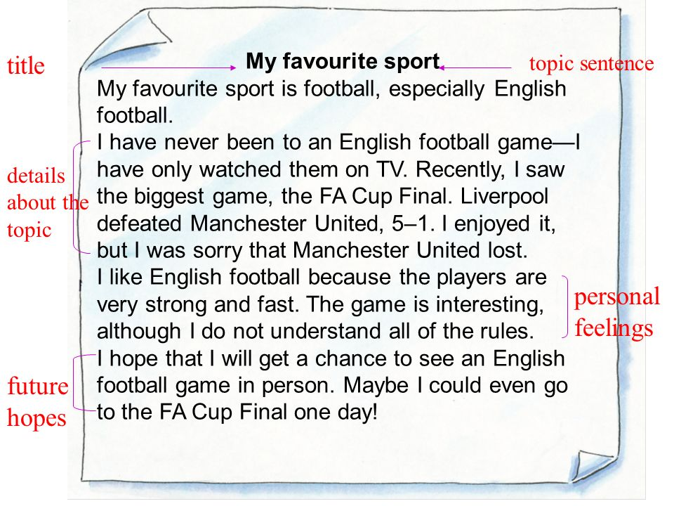 unit writing writing a personal essay a personal essay is a my favourite sport my favourite sport is football especially english football