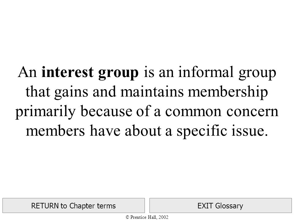 © Prentice Hall, 2002 RETURN to Chapter termsEXIT Glossary An interest group is an informal group that gains and maintains membership primarily because of a common concern members have about a specific issue.