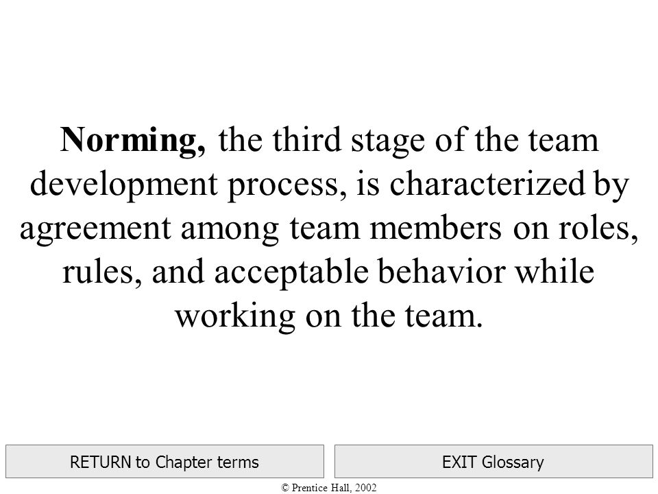 © Prentice Hall, 2002 RETURN to Chapter termsEXIT Glossary Norming, the third stage of the team development process, is characterized by agreement among team members on roles, rules, and acceptable behavior while working on the team.