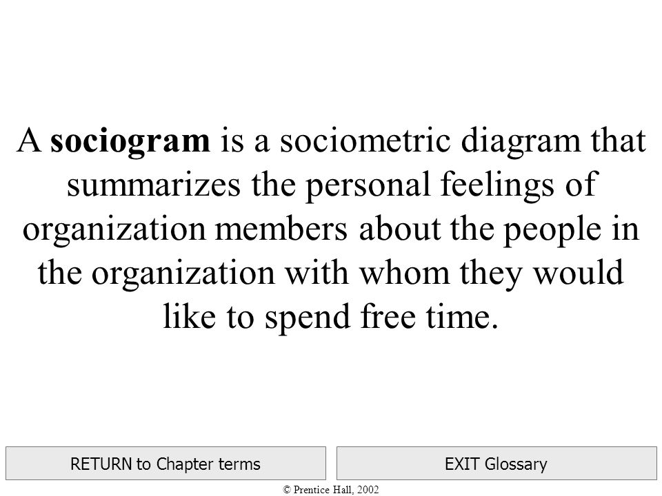© Prentice Hall, 2002 RETURN to Chapter termsEXIT Glossary A sociogram is a sociometric diagram that summarizes the personal feelings of organization members about the people in the organization with whom they would like to spend free time.