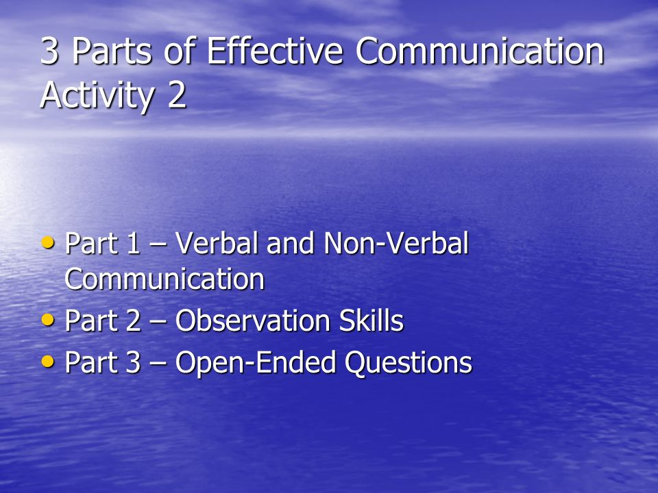 3 Parts of Effective Communication Activity 2 Part 1 – Verbal and Non-Verbal Communication Part 1 – Verbal and Non-Verbal Communication Part 2 – Observation Skills Part 2 – Observation Skills Part 3 – Open-Ended Questions Part 3 – Open-Ended Questions