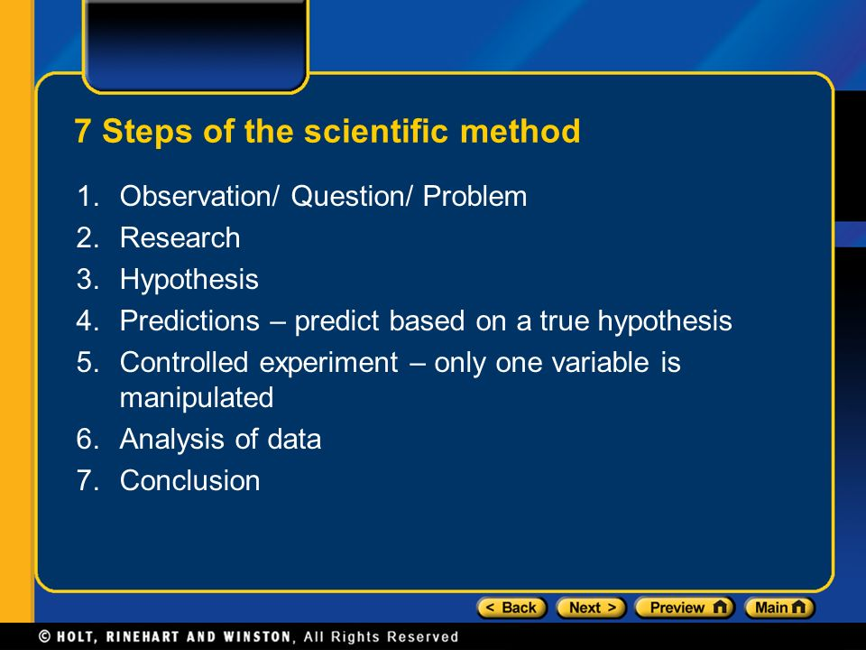 7 Steps of the scientific method 1.Observation/ Question/ Problem 2.Research 3.Hypothesis 4.Predictions – predict based on a true hypothesis 5.Controlled experiment – only one variable is manipulated 6.Analysis of data 7.Conclusion