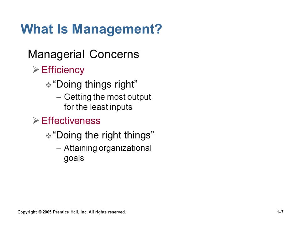 Copyright © 2005 Prentice Hall, Inc. All rights reserved.1–7 What Is Management.