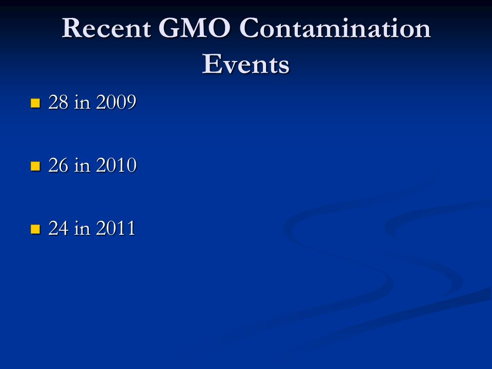 Recent GMO Contamination Events 28 in 2009 28 in 2009 26 in 2010 26 in 2010 24 in 2011 24 in 2011