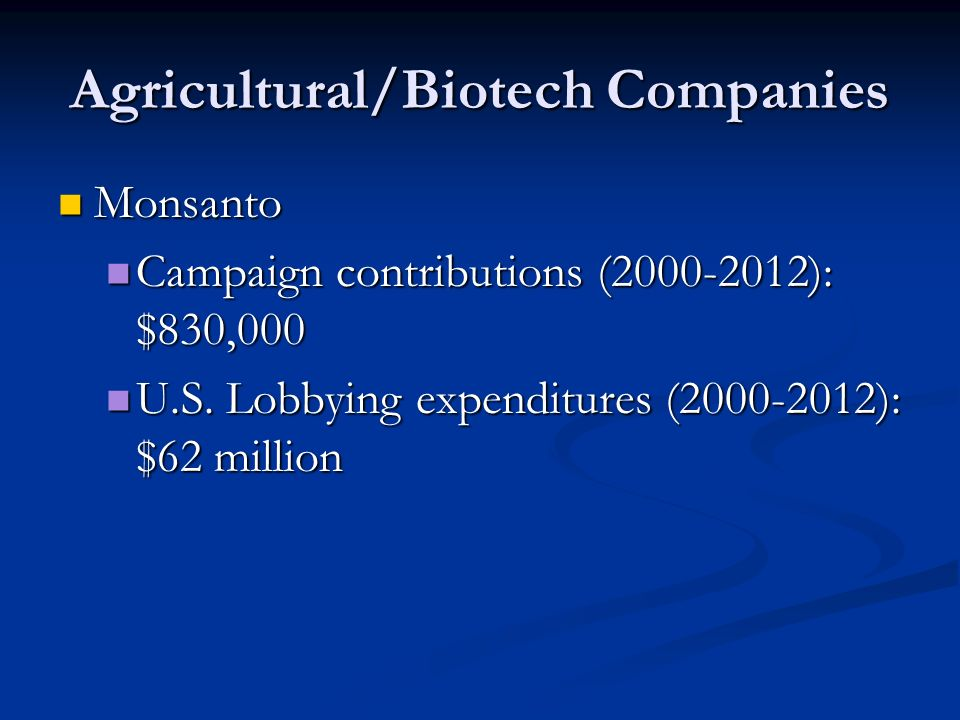 Agricultural/Biotech Companies Monsanto Monsanto Campaign contributions (2000-2012): $830,000 Campaign contributions (2000-2012): $830,000 U.S.
