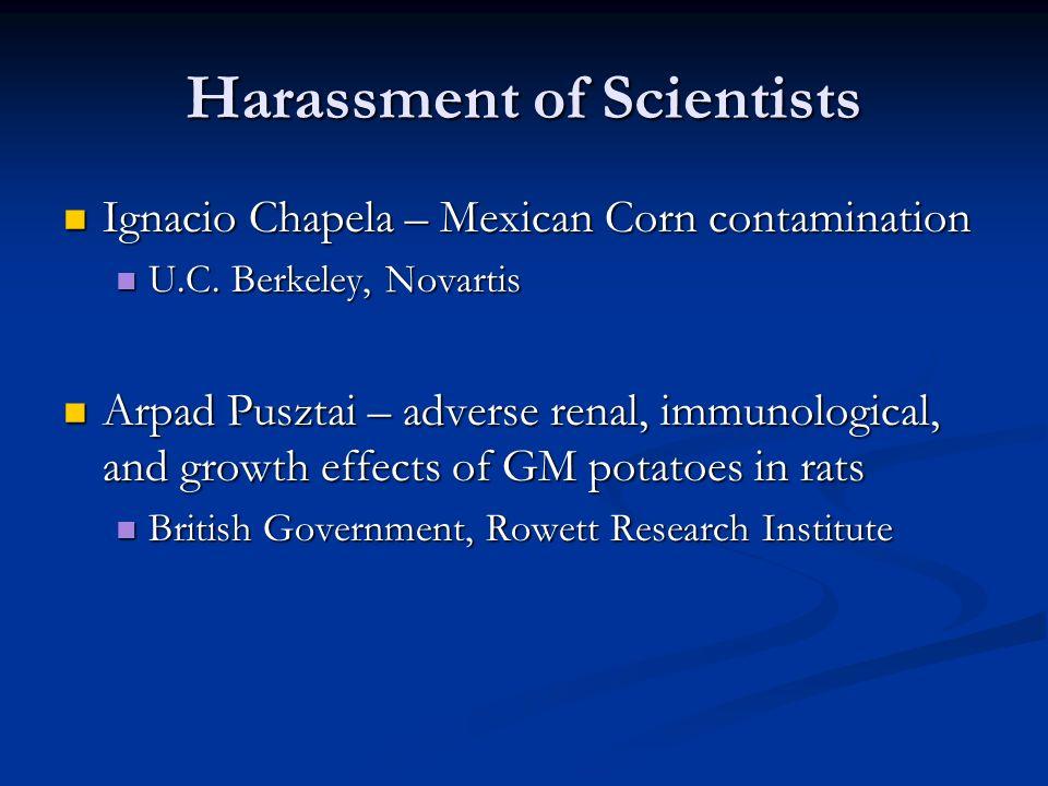 Harassment of Scientists Ignacio Chapela – Mexican Corn contamination Ignacio Chapela – Mexican Corn contamination U.C.