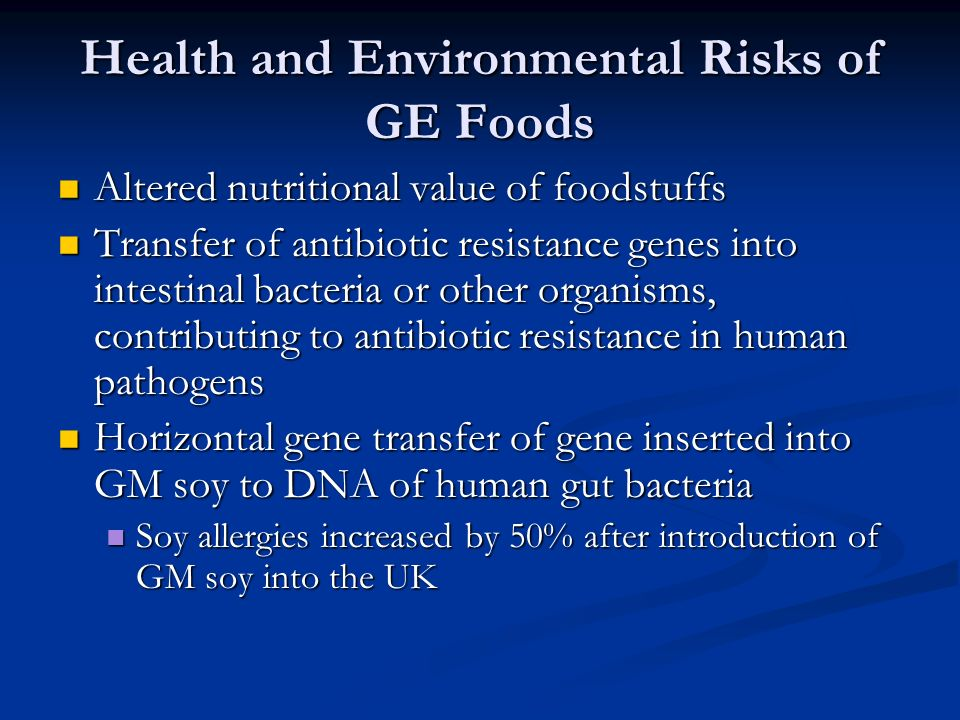 Health and Environmental Risks of GE Foods Altered nutritional value of foodstuffs Altered nutritional value of foodstuffs Transfer of antibiotic resistance genes into intestinal bacteria or other organisms, contributing to antibiotic resistance in human pathogens Transfer of antibiotic resistance genes into intestinal bacteria or other organisms, contributing to antibiotic resistance in human pathogens Horizontal gene transfer of gene inserted into GM soy to DNA of human gut bacteria Horizontal gene transfer of gene inserted into GM soy to DNA of human gut bacteria Soy allergies increased by 50% after introduction of GM soy into the UK Soy allergies increased by 50% after introduction of GM soy into the UK