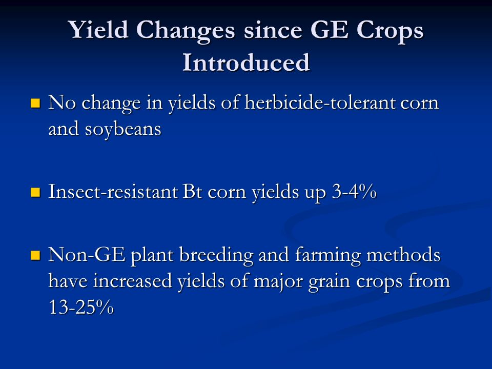 Yield Changes since GE Crops Introduced No change in yields of herbicide-tolerant corn and soybeans No change in yields of herbicide-tolerant corn and soybeans Insect-resistant Bt corn yields up 3-4% Insect-resistant Bt corn yields up 3-4% Non-GE plant breeding and farming methods have increased yields of major grain crops from 13-25% Non-GE plant breeding and farming methods have increased yields of major grain crops from 13-25%