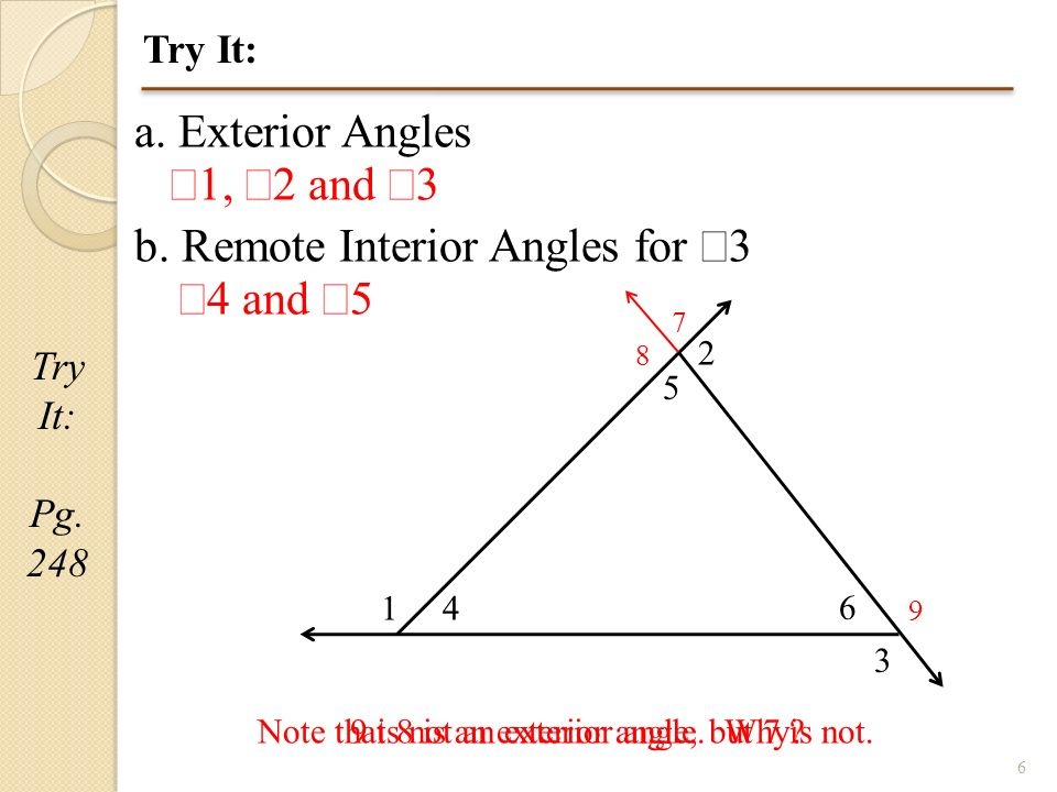 1 Geometry Section 41B Angles Outside the Triangle Pg 247 Be