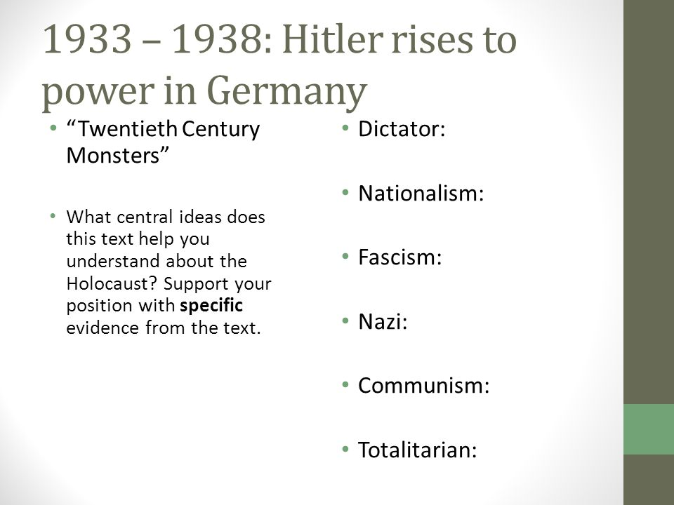 an analysis of the hitlers rise to power