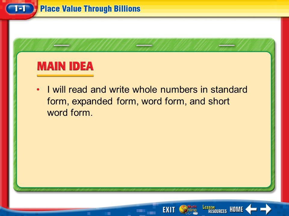 Splash Screen. Lesson Menu Five-Minute Check Main Idea Example 1 ...