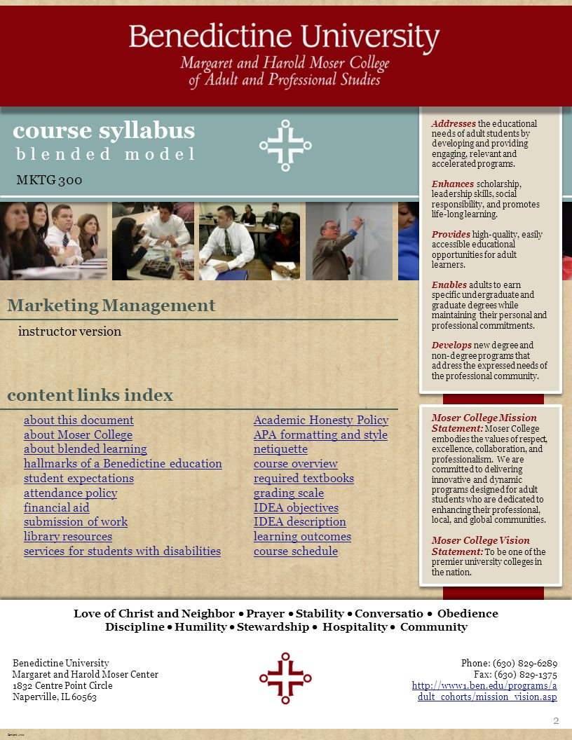 homeaboutexpectationsresources course overview learning outcomes IDEA  schedule & sessions Benedictine University Margaret and Harold Moser Center