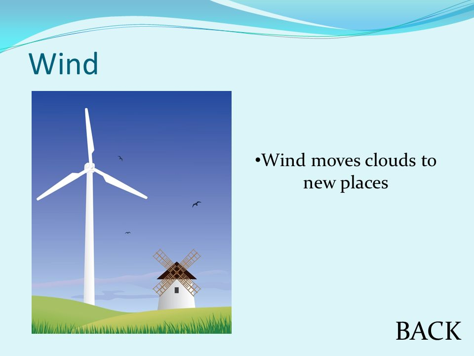 Wind BACK Wind moves clouds to new places