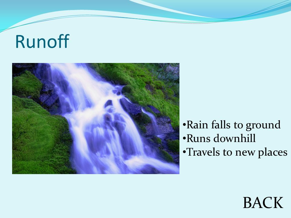 Runoff BACK Rain falls to ground Runs downhill Travels to new places