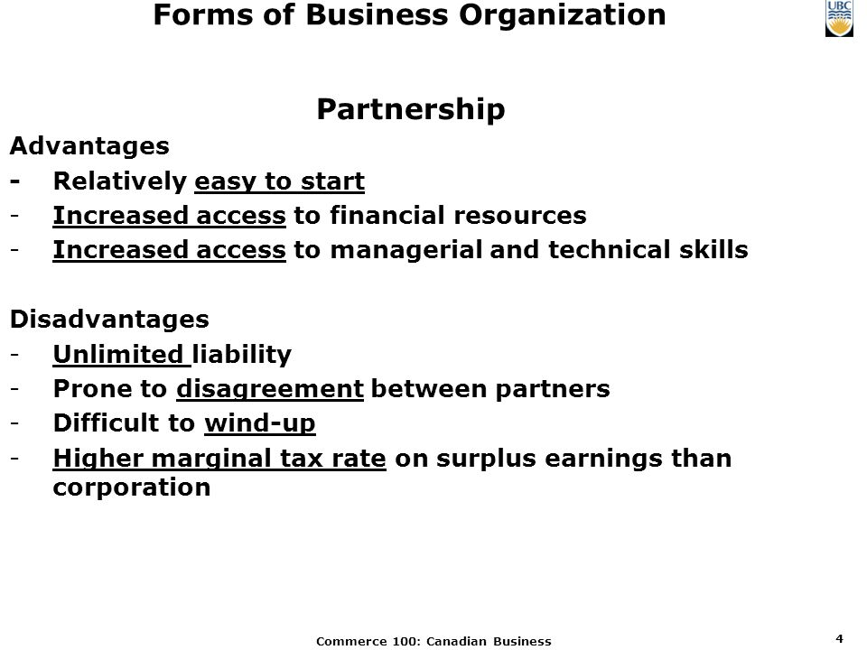 Commerce 100: Canadian Business 1 Forms of Business Organization ...
