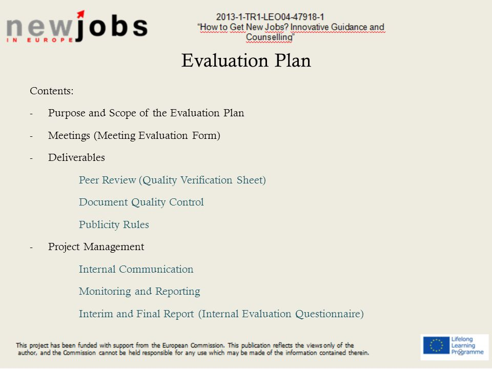 Evaluation Plan New Jobs How To Get New Jobs Innovative Guidance