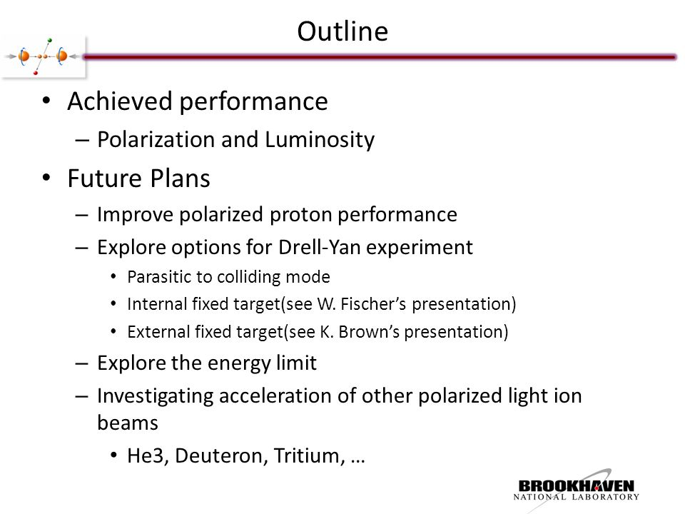 Outline Achieved performance – Polarization and Luminosity Future Plans – Improve polarized proton performance – Explore options for Drell-Yan experiment Parasitic to colliding mode Internal fixed target(see W.