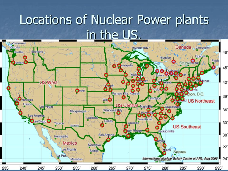 2 locations of nuclear power plants in the us