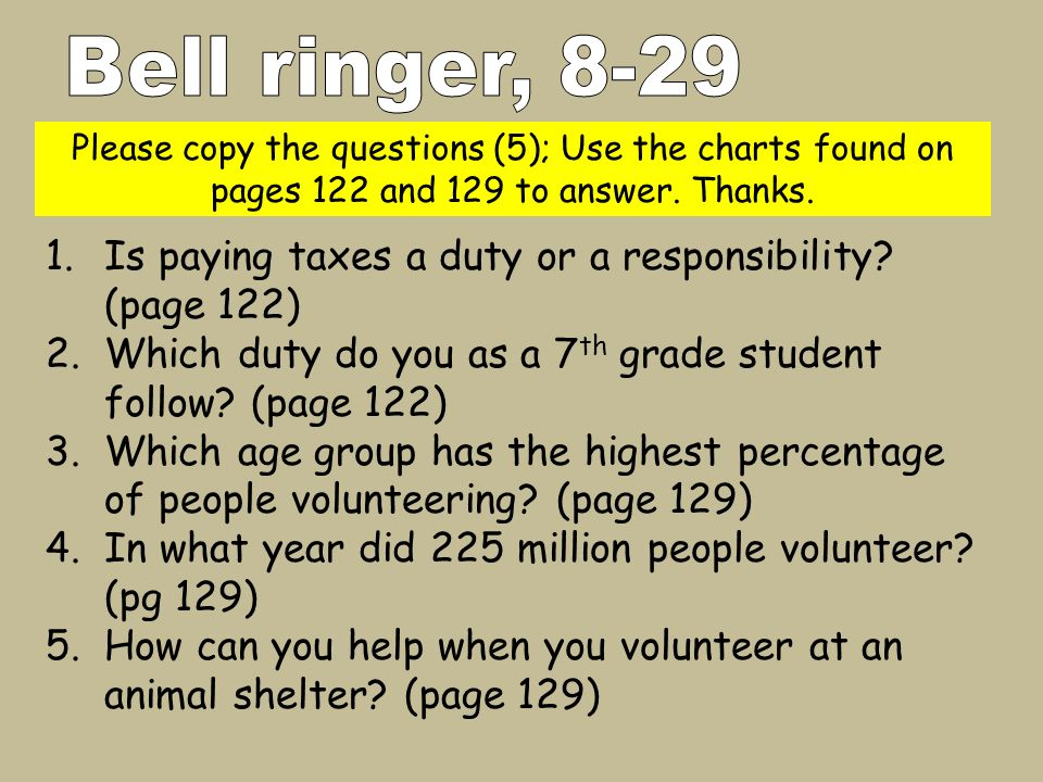 Please copy the questions (5); Use the charts found on pages 122 and 129 to answer. Thanks. 1.Is paying taxes a duty or a responsibility? (page 122) 2
