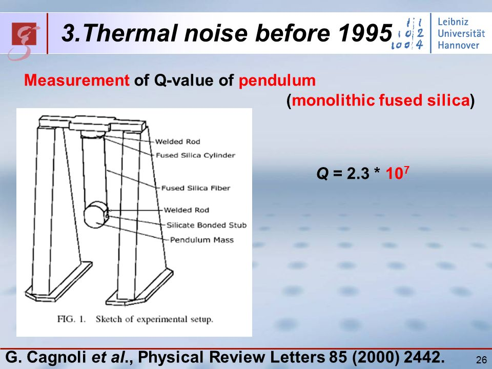 26 3.Thermal noise before 1995 Measurement of Q-value of pendulum (monolithic fused silica) Q = 2.3 * 10 7 G.