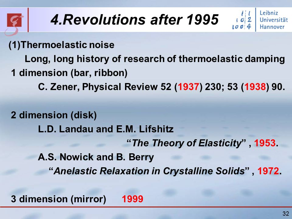 32 4.Revolutions after 1995 (1)Thermoelastic noise Long, long history of research of thermoelastic damping 1 dimension (bar, ribbon) C.
