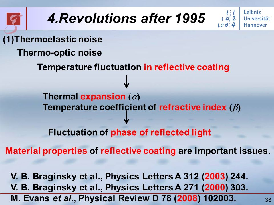 36 4.Revolutions after 1995 (1)Thermoelastic noise Thermo-optic noise Temperature fluctuation in reflective coating Thermal expansion (  ) Temperature coefficient of refractive index (  ) Fluctuation of phase of reflected light Material properties of reflective coating are important issues.
