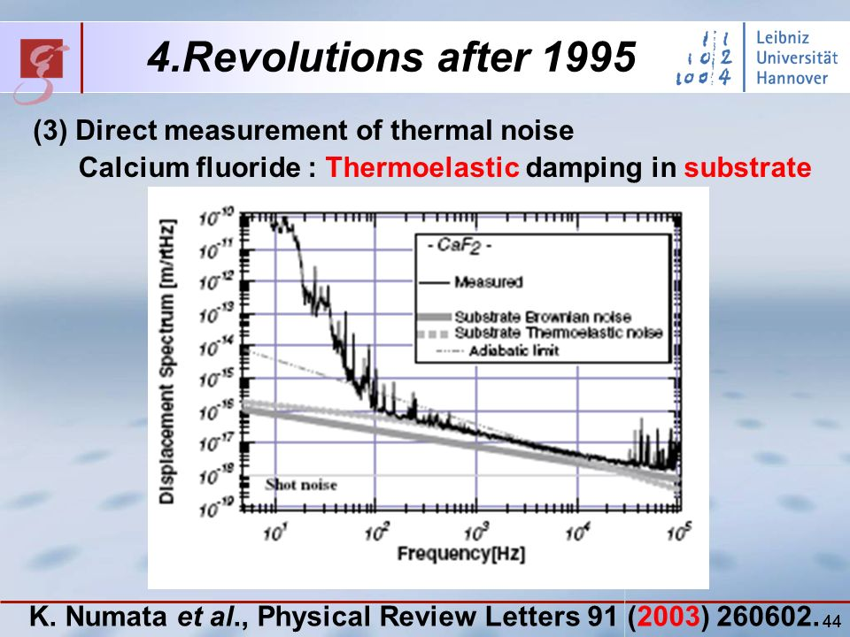 44 4.Revolutions after 1995 (3) Direct measurement of thermal noise Calcium fluoride : Thermoelastic damping in substrate K.