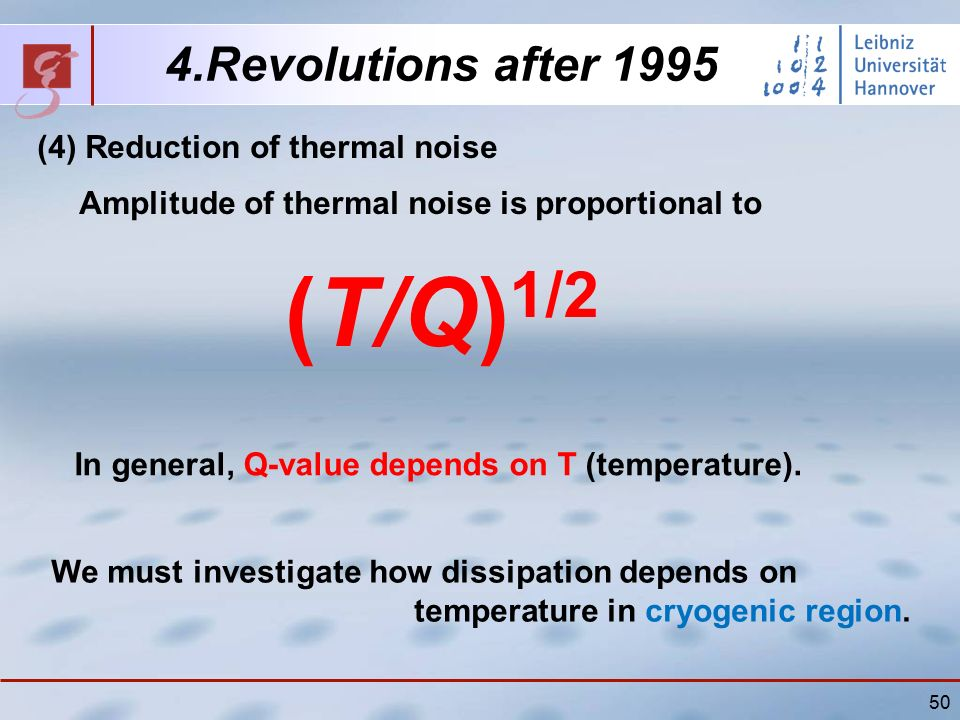 50 4.Revolutions after 1995 (4) Reduction of thermal noise Amplitude of thermal noise is proportional to (T/Q) 1/2 In general, Q-value depends on T (temperature).
