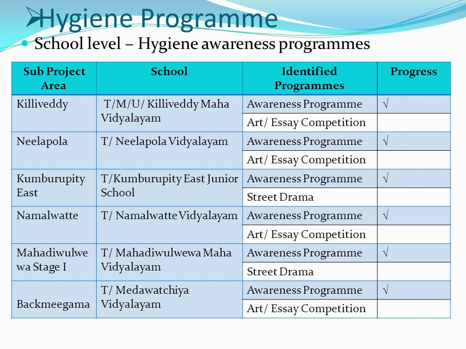 hygiene programme school level hygiene awareness programmes sub  2  hygiene programme school level