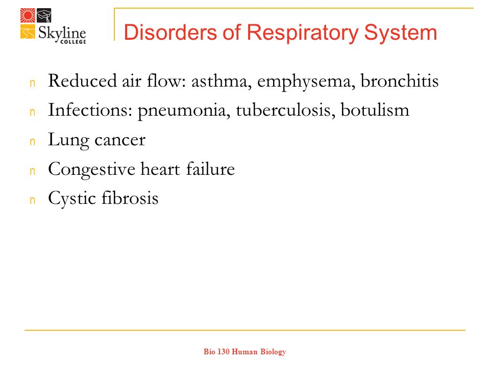 Bio 130 Human Biology Disorders of Respiratory System n Reduced air flow: asthma, emphysema, bronchitis n Infections: pneumonia, tuberculosis, botulism n Lung cancer n Congestive heart failure n Cystic fibrosis