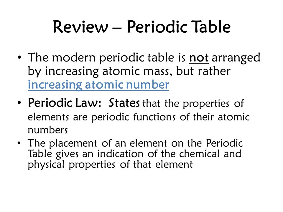 Review periodic table the modern periodic table is not arranged by 1 review periodic table the modern periodic table is not arranged by increasing atomic urtaz Gallery