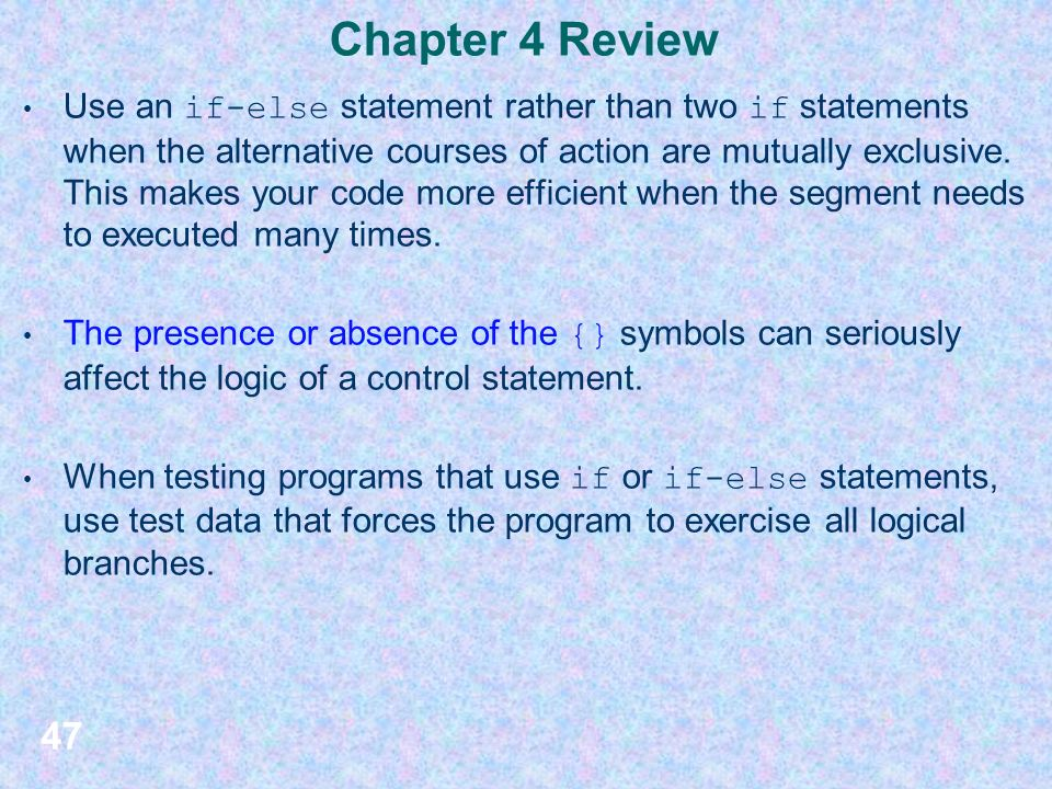Chapter 4 Introduction To Control Statements Section 1 Additional