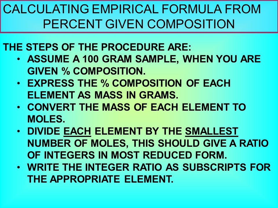 CALCULATING EMPIRICAL FORMULA FROM PERCENT GIVEN COMPOSITION 1 ...