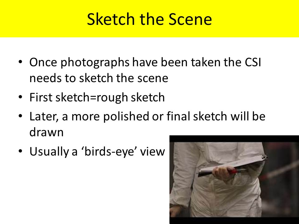 Sketch the Scene Once photographs have been taken the CSI needs to sketch the scene First sketch=rough sketch Later, a more polished or final sketch will be drawn Usually a 'birds-eye' view