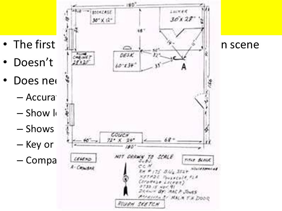 Rough Sketch The first drawing created upon arriving on scene Doesn't have to be 'pretty' Does need: – Accurate dimensions – Show location of all objects – Shows all evidence and evidence markers – Key or legend – Compass