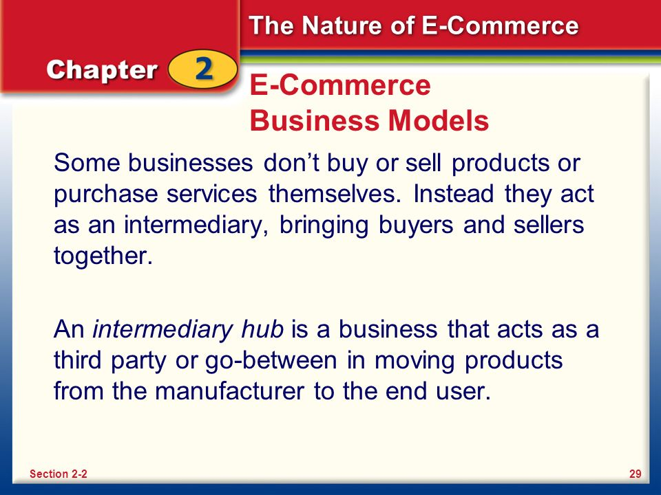 The Nature of E-Commerce E-Commerce Business Models Some businesses don't buy or sell products or purchase services themselves.