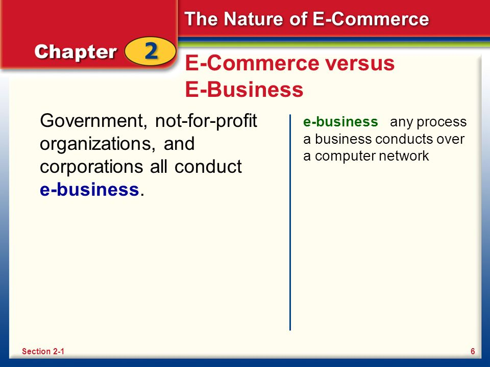 The Nature of E-Commerce E-Commerce versus E-Business Government, not-for-profit organizations, and corporations all conduct e-business.