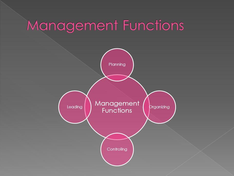 Management Functions PlanningOrganizingControlingLeading