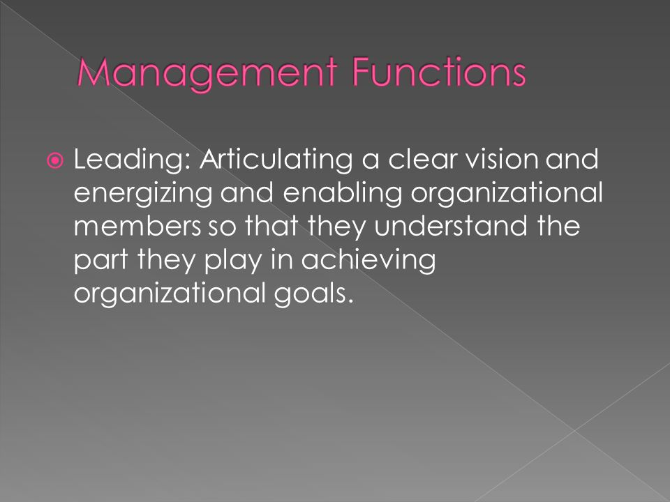  Leading: Articulating a clear vision and energizing and enabling organizational members so that they understand the part they play in achieving organizational goals.