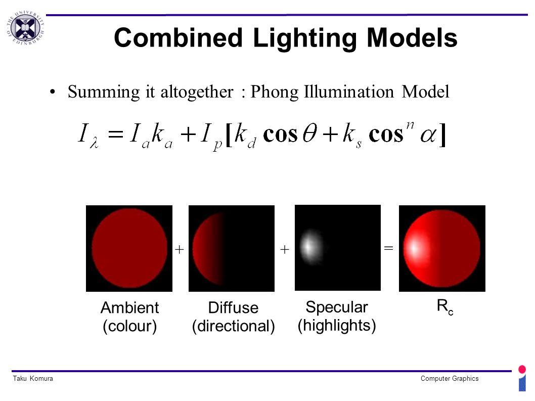12 Taku KomuraComputer Graphics Combined Lighting Models Summing it altogether  Phong Illumination Model ++ u003d Ambient (colour) Diffuse (directional)u200f ...  sc 1 st  SlidePlayer & Taku KomuraComputer Graphics Local Illumination and Shading ... azcodes.com