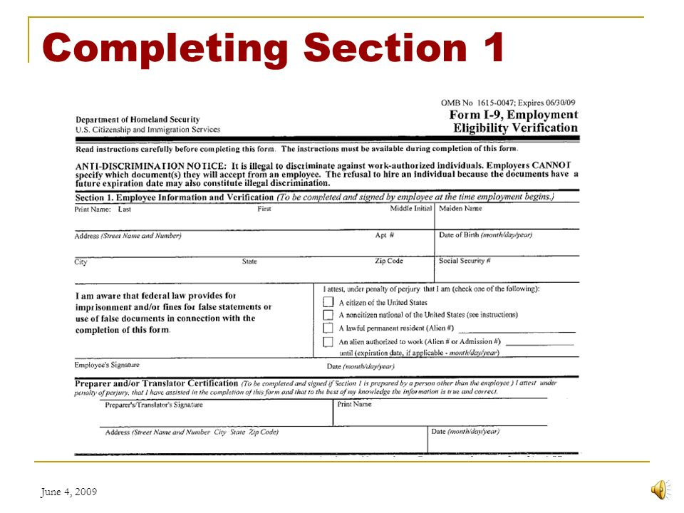 June 4, 2009 Employment Eligibility Verification Form I-9 Chabot ...