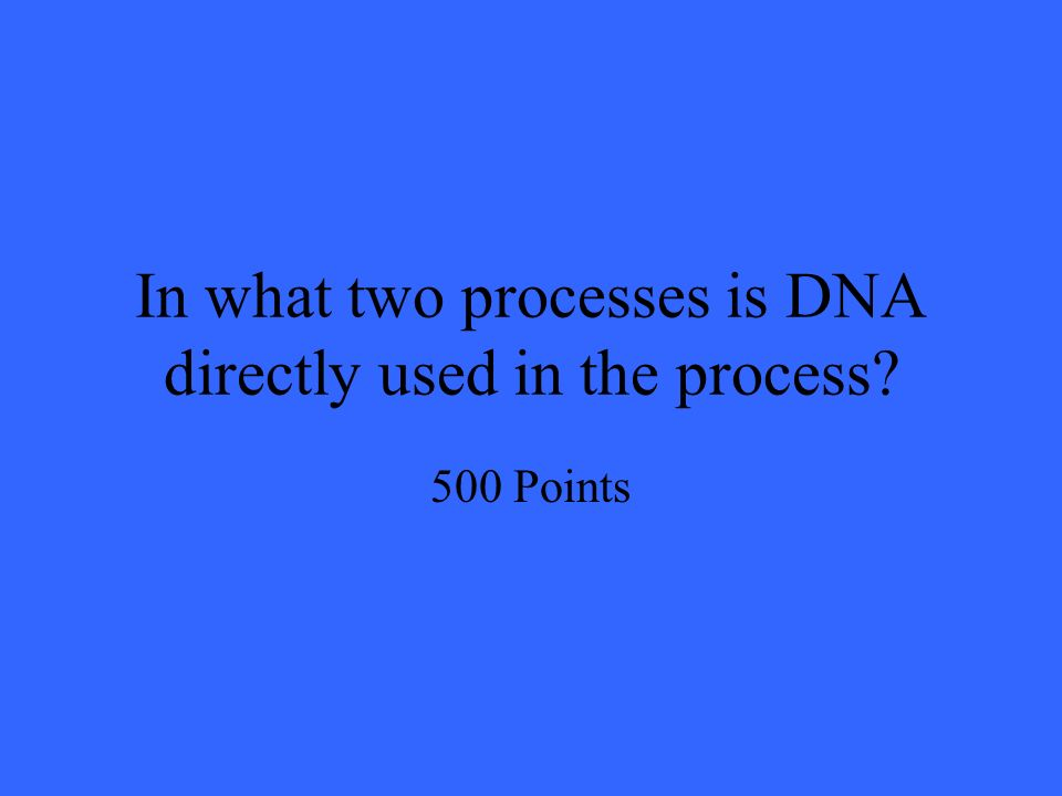 In what two processes is DNA directly used in the process 500 Points