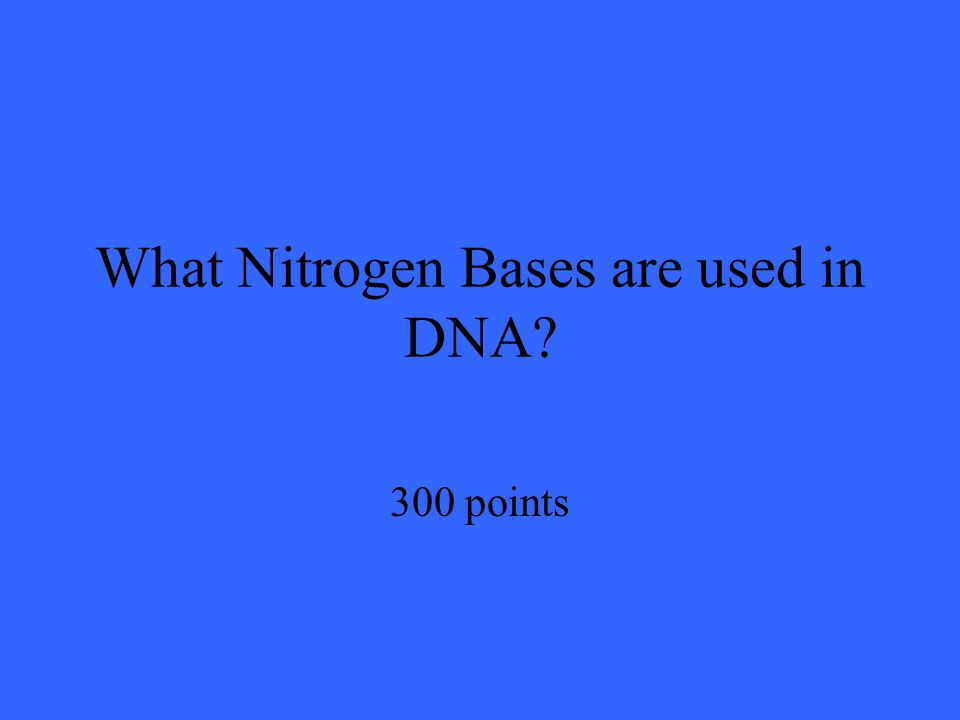 What Nitrogen Bases are used in DNA 300 points